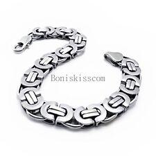 """11mm Heavy Silver Flat Byzantine Stainless Steel Men's Boys Chain Bracelet 8.5"""""""
