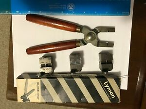 Lyman, Ideal bullet mold handle and 3 molds, reloading ,lead bullets