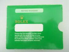 Rolex GREEN PAPER WARRANTY CERTIFICATE Card Holder Sleeve Folder Vintage ║ M77