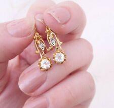 18ct gold old cut diamond earrings,  Victorian