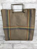 """Vintage Rainbow Stripe Embroidery Brown Canvas Tote Bag Metal Handles 14x15"""""""