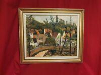 Peinture huile sur toile village, signée à déchiffrer