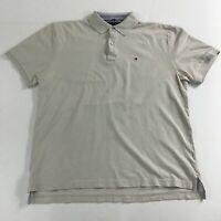 Men's Tommy Hilfiger Classic Fit Beige Polo Collar 95% Cotton T-Shirt Size XL