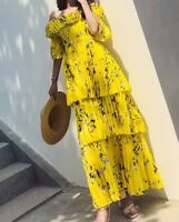 Floral Print Ruffle Tiered Off Shoulder Crepe Long Yellow Maxi Pleated Dress