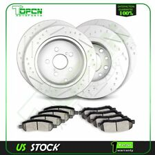 Front And Rear Drill Slot Brake Rotors Ceramic Pads Fits 13 14 15 16 Dodge Dart