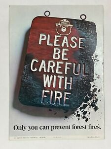 "1968 Smokey The Bear ""Please Be Careful"" Vintage Original Fire Prevention Poster"