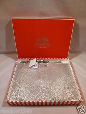 NWT COACH Legacy Silver Glitter Flat Zip EReader IPAD Tablet Wristlet Case 50377