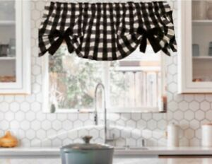 """Farmhouse, Black and White Buffalo, Check, Curtain Valance, With Bows,42""""W x15""""L"""