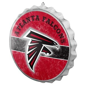 """Atlanta Falcons Bottle Cap Wall Sign - Distressed - Room Bar Decor Metal 13.5"""""""