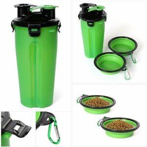 Dog Bottle Feeder 2 in 1 Pet Puppy Cat Water Bottle Folding Food Bowl Travel