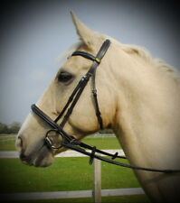 RHINEGOLD GERMAN SHAPED COMFORT CROWN FANCY WHITE STITCH HUNTER CAVESSON BRIDLE