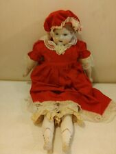 """Antique Reproduction German Lady Doll 22"""" long White Bisque Dressed Weaver Doll"""