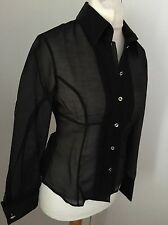 Karen Millen Black Sheer Blouse Top UK 12