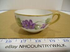 Vintage Hand Painted Nippon Porcelain Purple Floral Gold Trim Tea Cup - EUC