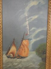 """Antique Sailboat Oil Painting Gold Gilt Gesso Picture Frame 30"""" X 17"""""""