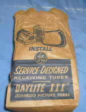 Vintage GE Receiving RADIO  Tube Brown Paper Advertising Bag Daylite III  / ad