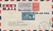 US to Czechoslovakia EAST ROCKAWAY NJ 22c Prexie 5c UN 3c Texas Flag 1946