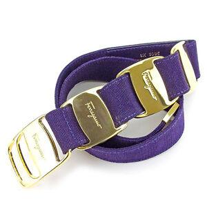 Salvatore Ferragamo belt Vera Purple Gold Woman Authentic Used T1893