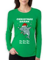 Christmas Shark doo doo doo  Ugly Holiday Women Long Sleeve T-Shirt Funny