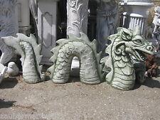 Drache 130 cm Steinfigur massiv Wurm 3-teilig Gartenfigur Teich Figur Drachen