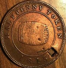 1815 NOVA SCOTIA MILES WHITE HARDWARES IMPORTERS HALF PENNY TOKEN - holed