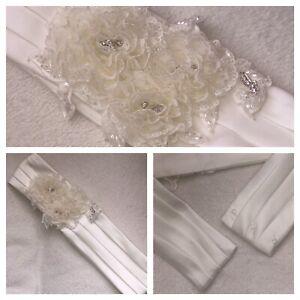 Bridal Belt Sash Rhinestone Beaded Lace Flower Wedding Dress Ivory Satin UK