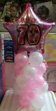 Età 70 Palloncino COLONNA Baby Pink & White GRATIS... 5 Stack - 20 Palloncini-fai da te