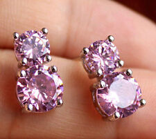 925 Sterling Silver 14k White Gold Finish Pink Simulated Diamond Stud Earrings