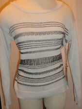 Ladies Rock & Republic Ivory Metallic Long Sleeve Sweater Top Size XS