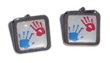 Painted Hands Cufflinks - Red & Blue