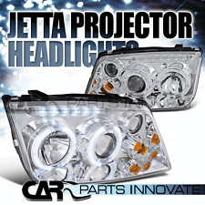 Fit 99-05 Jetta Bora Mk4 LED Halo Projector Headlights Lamps Chrome w/ Fog DRL