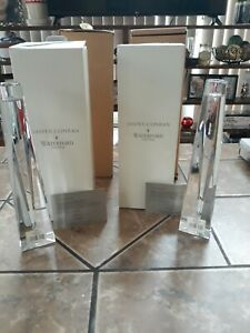 NEW VERY RARE ETCHED SHINE JASPER CONRAN WATERFORD CRYSTAL CANDLESTICKS PAIR 😱