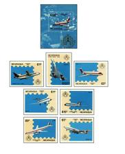 NIC8605 Modern passenger airplanes block and 7 stamps MNH NICARAGUA 1986