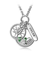 "NinaQueen ""Tree of Life"" 925 Sterling Silver Locket Pendant Dream and Hope chain"