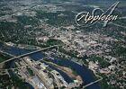Appleton Wisconsin, Aerial View, Fox River, Bridge, Downtown, etc. WI - Postcard