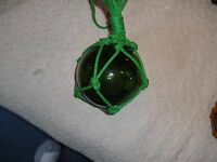 """Green Glass Fishing net float ball  approx 5"""" diameter in great condition."""