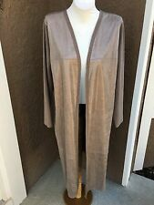 New $139 Chico's Foiled Suede Texas Taupe Cardigan Sweater Duster 2 L 12 14 NWT