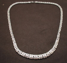"""20"""" All Shiny Graduated Byzantine Chain Necklace Real 14K White Gold HSN"""