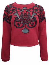 New-Embellished Dark Red Sweatshirt-Baroque Design-Black Stones & Sheer Mesh-6