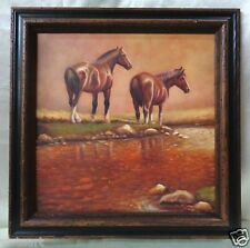 """Oil Painting on Canvas in Vintage Style Frame """"Horses By the Water"""" 17.5 x 17.5"""""""