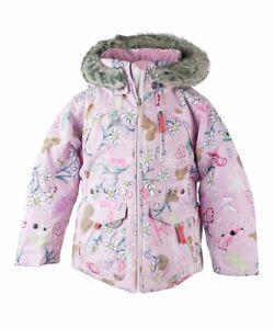 Obermeyer Taiya Ski Jacket, Girls, I-Grow, Size 6, Pink Animal Print, Fur Hood