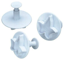 3x Ivy Leaf Shaped Fondant Icing Cutter Plunger Set Cake Decorating Cutters