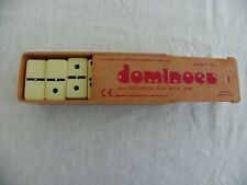 Dominoes, Double Six Urea Pieces With Spin In A Plastic Slide Lid Box - complete