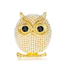 Silver Gold Big Eye Owl Animal Bouquet Pearl Brooch Pins Women Jewelry FB001-02