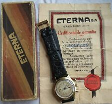 Eterna Small Chronograph mens wristwatch gold filled case cal. Valjoux 69 30 mm.