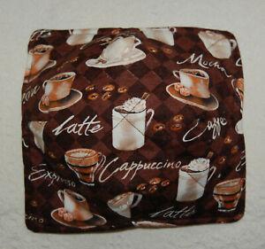 "Handmade Microwavable Reversible 9"" Bowl Cozy Coffee Lovers Design Pattern Brown"