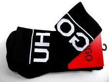 2 Pairs Genuine Black HUGO BOSS Logo Ribbed SPORTS Socks CHOOSE YOUR SIZE