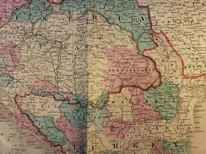 ANTIQUE MAP of AUSTRIA TURKEY HUNGARY TRANSYLVANIA ROMANIA BOHEMIA ALBANIA 1864