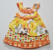 Jelly the Pug Multi Color Multi Print Layered Skirt Ruffled Sleeveless Dress, 2T