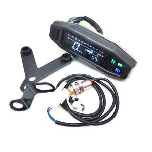 Motorcycle LCD Digital Odometer Speedometer Tachometer Gauge Meter W/Bracket